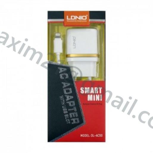 Зарядное устройство LDNIO DL-AC50 +  кабель Lighting Apple