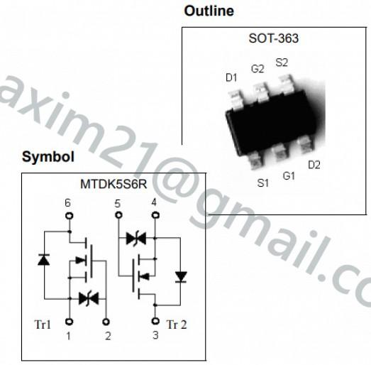 транзистор MTDK5S6R Dual N-CHANNEL MOSFET