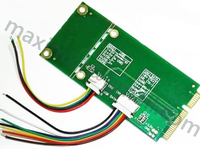 переходник USB + SATA Signal to Mini-PCIe Adapter