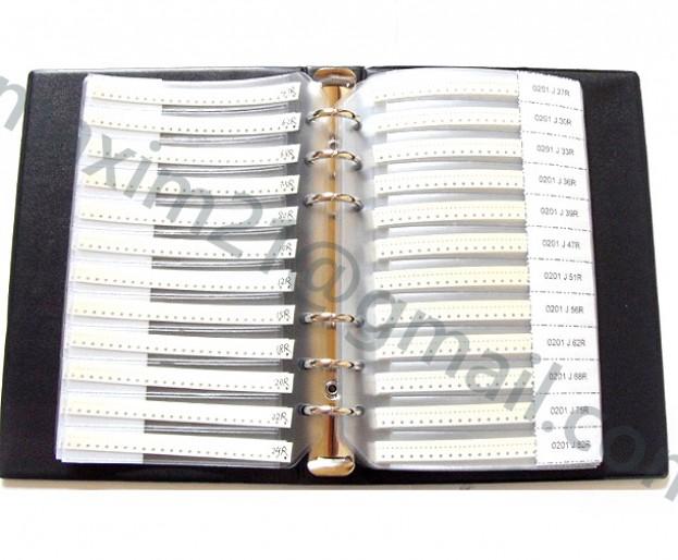 набор SMD резисторов  типоразмера 0201 для поверхностного монтажа в книжке